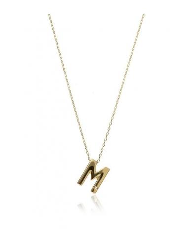 Colgante letra M de oro y...